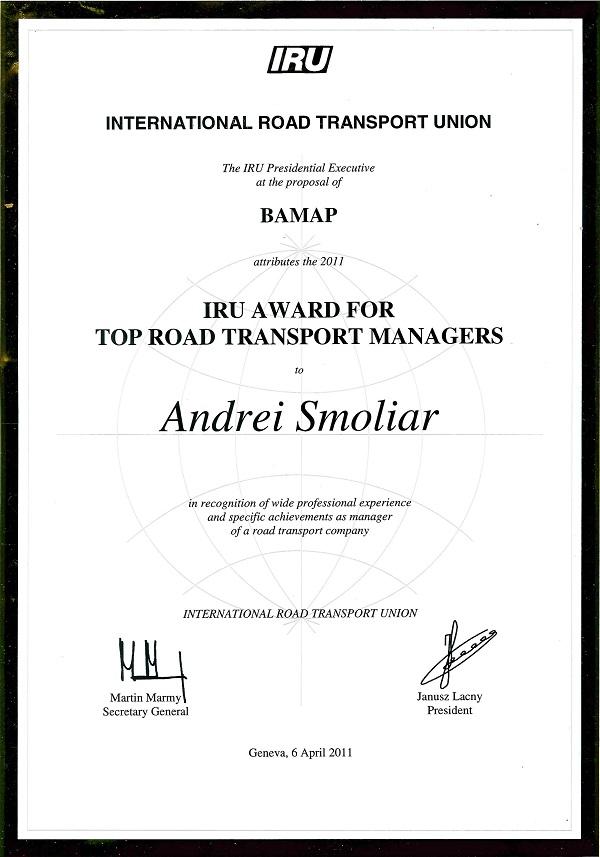 лучший топ-менеджер Международного Союза автомобильного транспорта